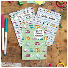 Load image into Gallery viewer, 3 mix and match A6 personalised pocket notebooks *now with a choice of lines/plain/dotgrid or lists*