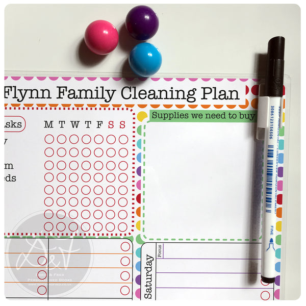 A4 Magnetic reusable wipe off weekly cleaning plan