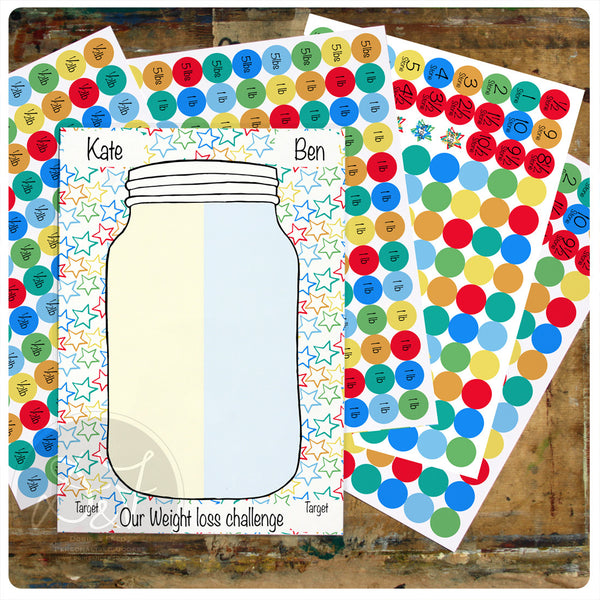 Personalised weight management progress Sticker Chart