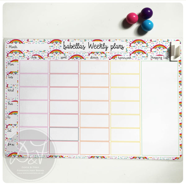a4 personalised reusable magnetic weekly planner  chores  meal planner  u2013 doris  u0026 fred