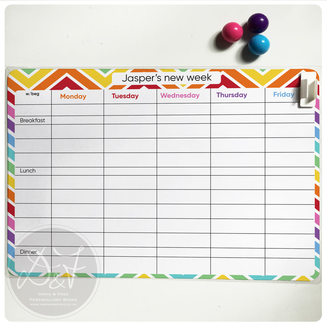 A4 Magnetic, wipe clean, weekly planner with timings (new version)