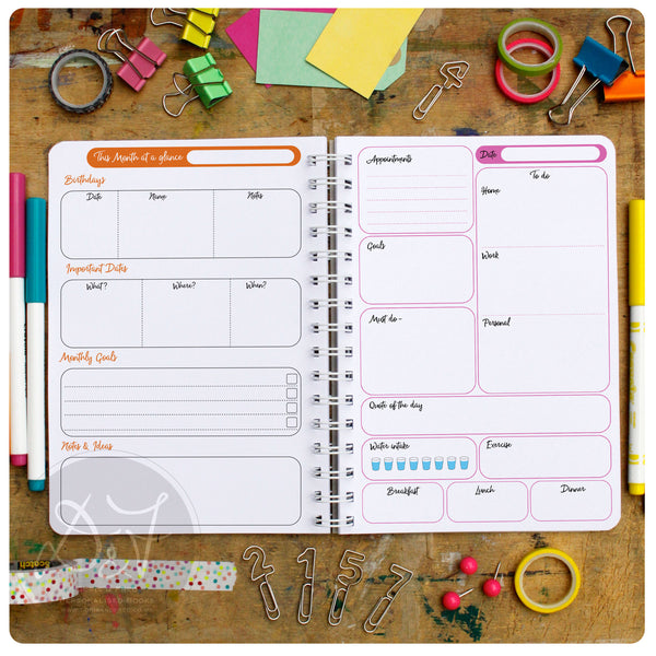 multicoloured life planner