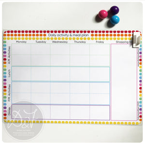 Magnetic wipe clean activity / meal planner