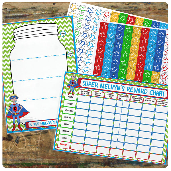 Personalised Kids reward chart set