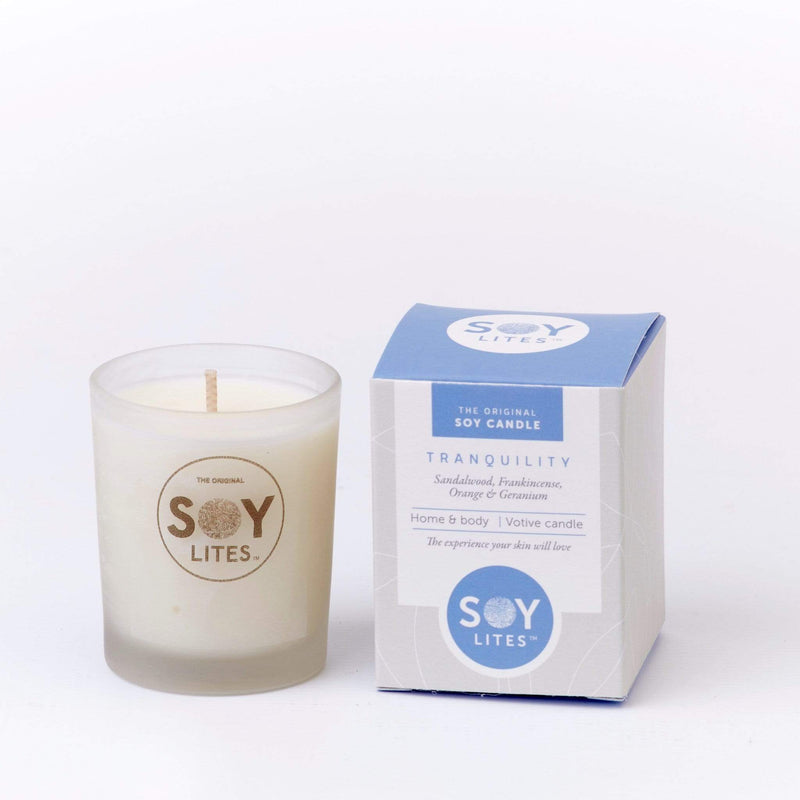 SoyLites Soy Aromatherapy Votive 70ml Tranquility Votive 70ml with Frankincense, Sandalwood, Geranium & Orange