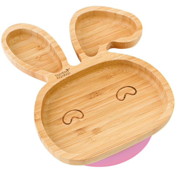 Bamboo Little Bunny Suction Plate Feeding Products bamboo bamboo Pink