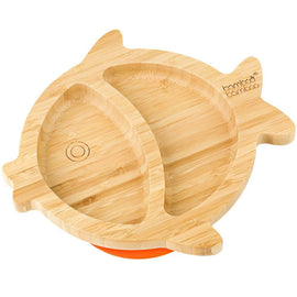 Bamboo Little Fish Suction Plate Baby Product bamboo bamboo Orange