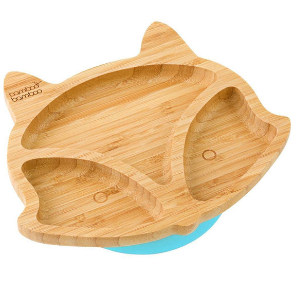 Bamboo Fox Plate Suction Plate Feeding Products bamboo bamboo Blue