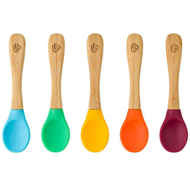 Bamboo Baby Spoons with Soft Curved Silicone Tips