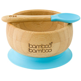Bamboo Baby Suction Bowl and Spoon Baby Product bamboo bamboo Blue