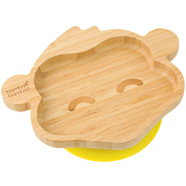 Baby Toddler Monkey Suction Plate, Stay Put Feeding Plate, Natural Bamboo