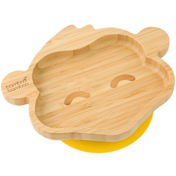 Bamboo Cheeky Monkey Suction Plate Baby Product bamboo bamboo Yellow