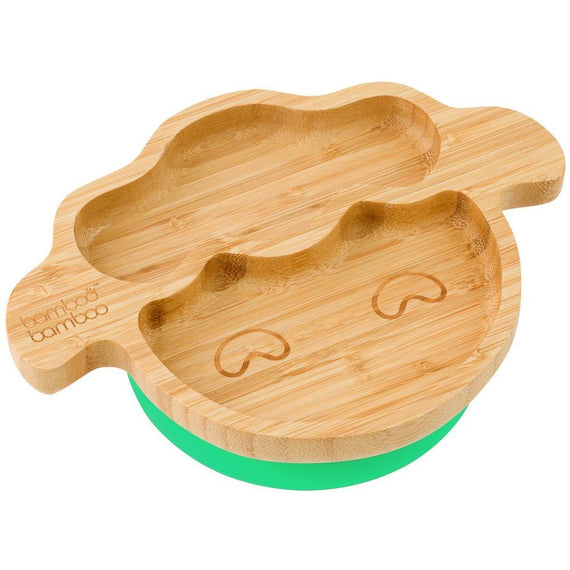 LITTLE LAMB STAY PUT SUCTION PLATE, NATURAL BAMBOO