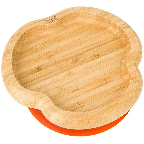 Bamboo Fox Suction Plate, Stay Put Feeding Plate, Natural