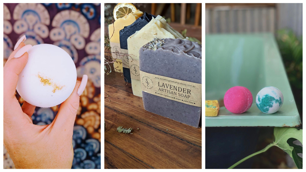 collage of bath bombs and soaps from south australian company in Victor Harbor