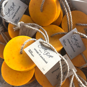 orange & patchouli soap on a rope