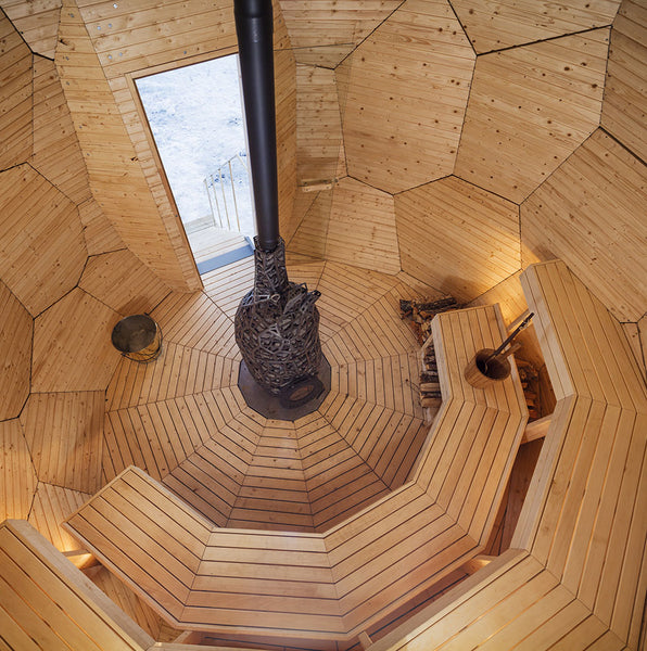 Inside the Golden Egg Sauna
