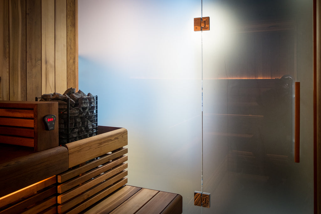 frosted and toughened glass sauna wall and sauna door with polished chrome hinges