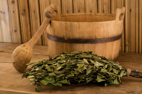 Bucket, ladle and vihta for use in a traditional Finnish sauna
