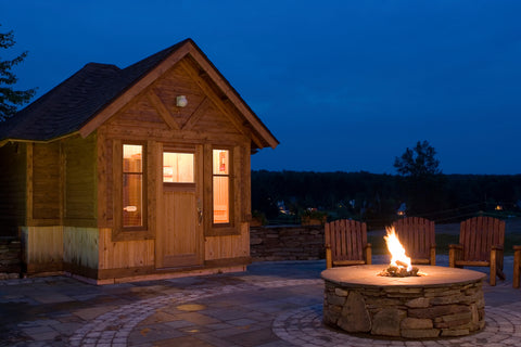 Outside Sauna Cabin with Outdoor Hearth