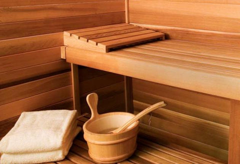 Sauna Benching with Bucket and Towels