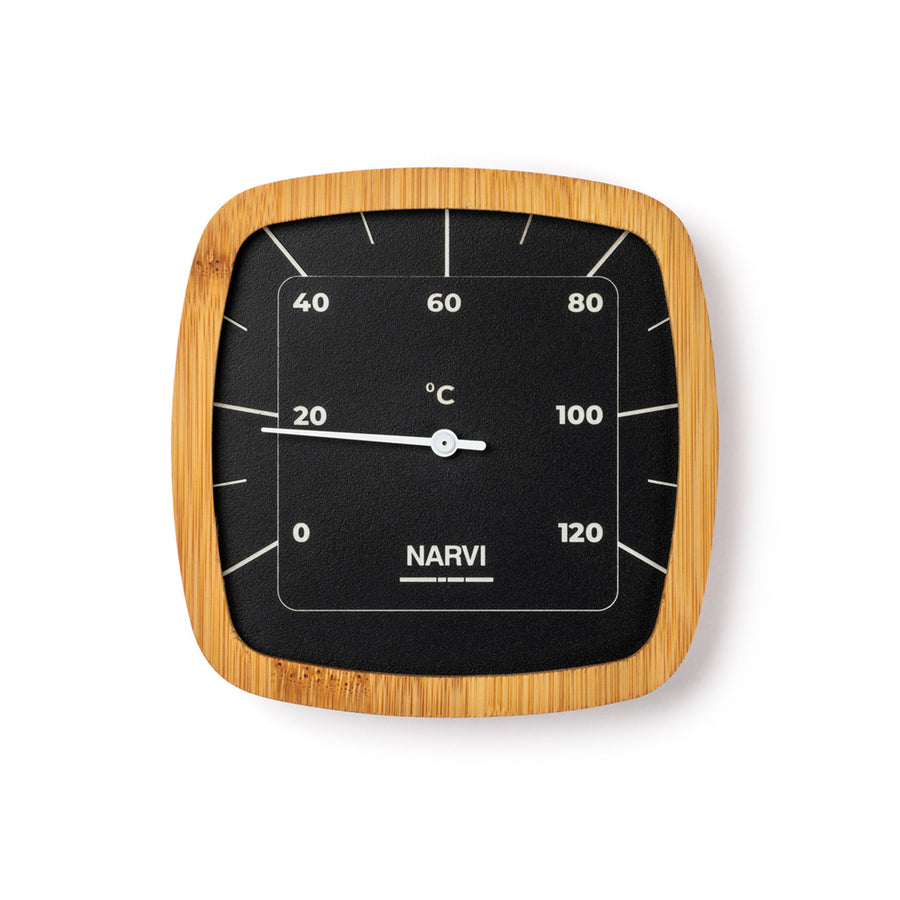 Narvi Black Dial Bamboo Frame Thermometer  Sauna Thermometer Finnmark Sauna