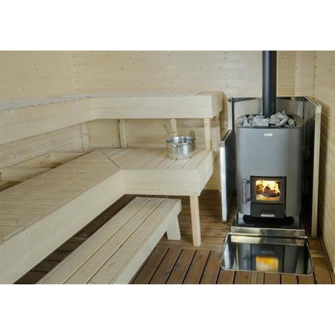 Narvi NC 20 Graphite Grey Paint Wood burning Sauna Heater Stove in situ