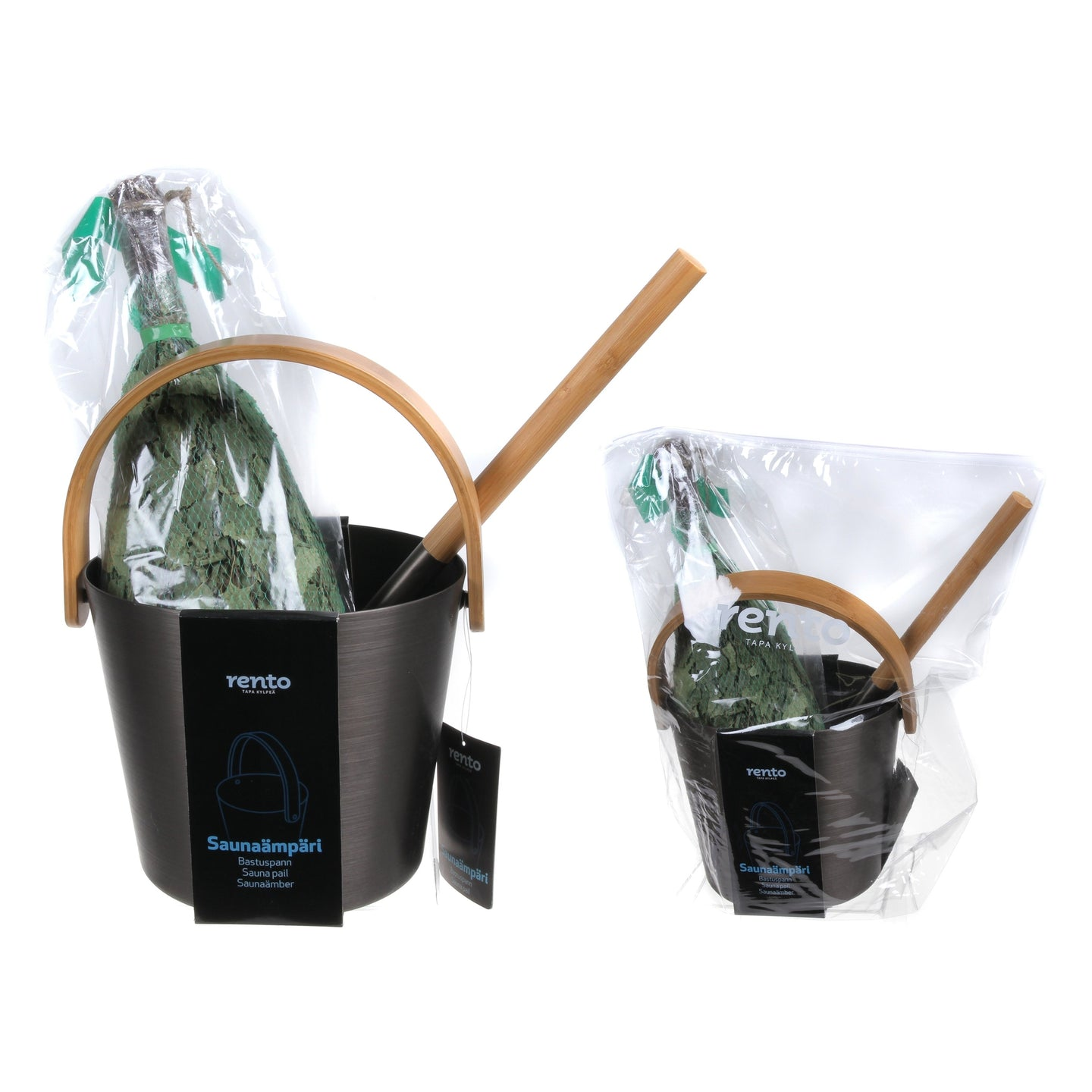 Rento Black Anodised Aluminium Sauna Set - Sauna Ladle, Pail & Whisk  Sauna Accessories Set Finnmark Sauna