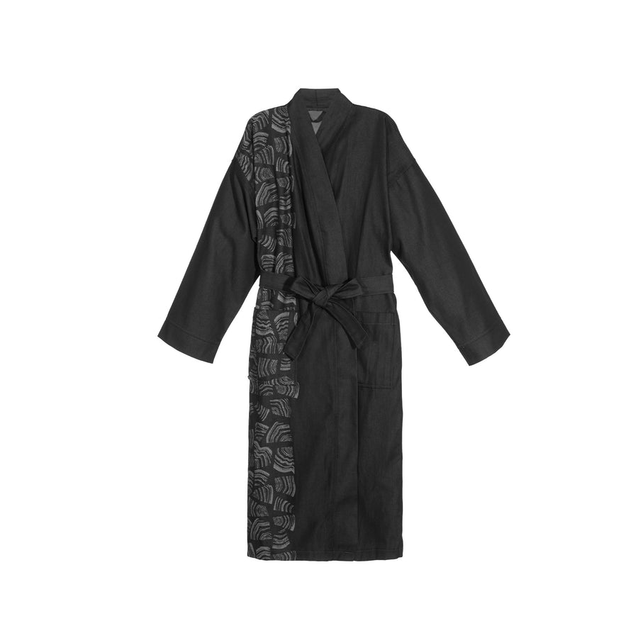 Rento Pino Sauna Bathrobe Black  Sauna Robes & Dressing Gowns Finnmark Sauna