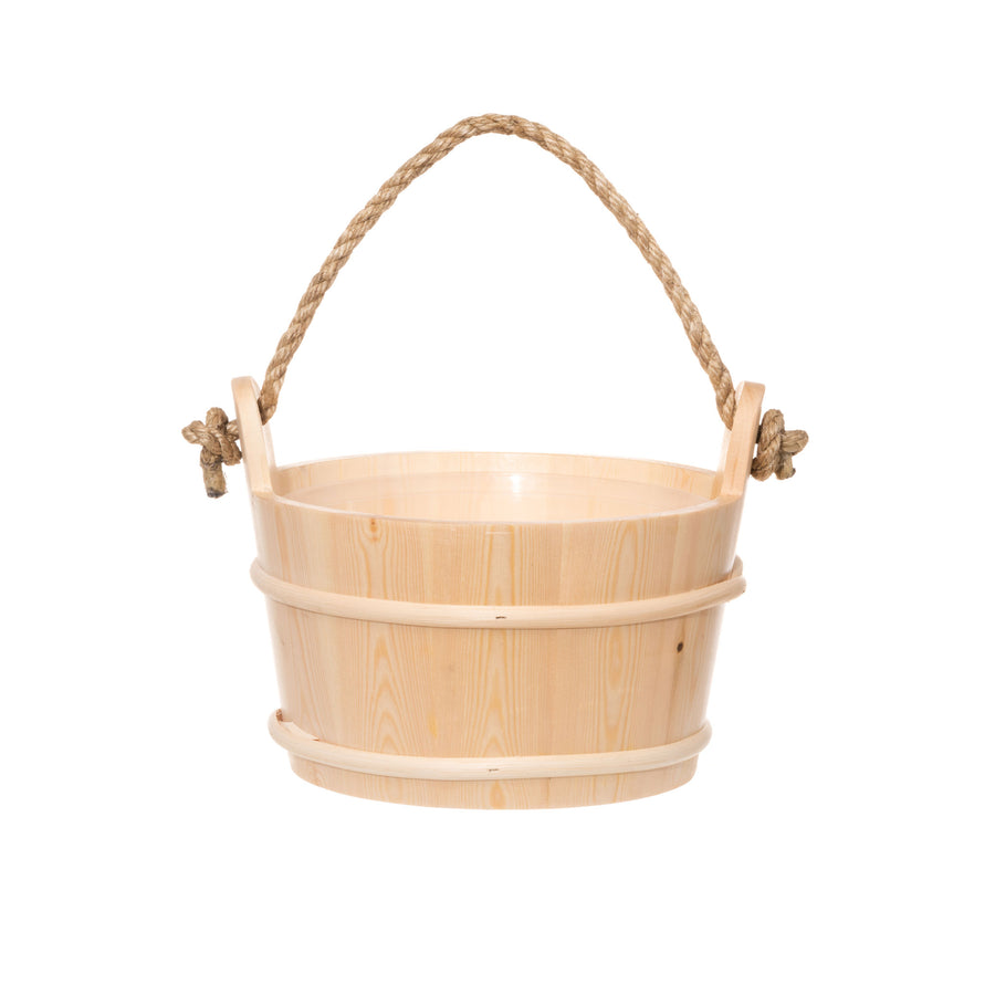 4 Living Sauna Bucket Spruce With Rope Handle 4 Litre Default Title Sauna Bucket/Pail Finnmark Sauna