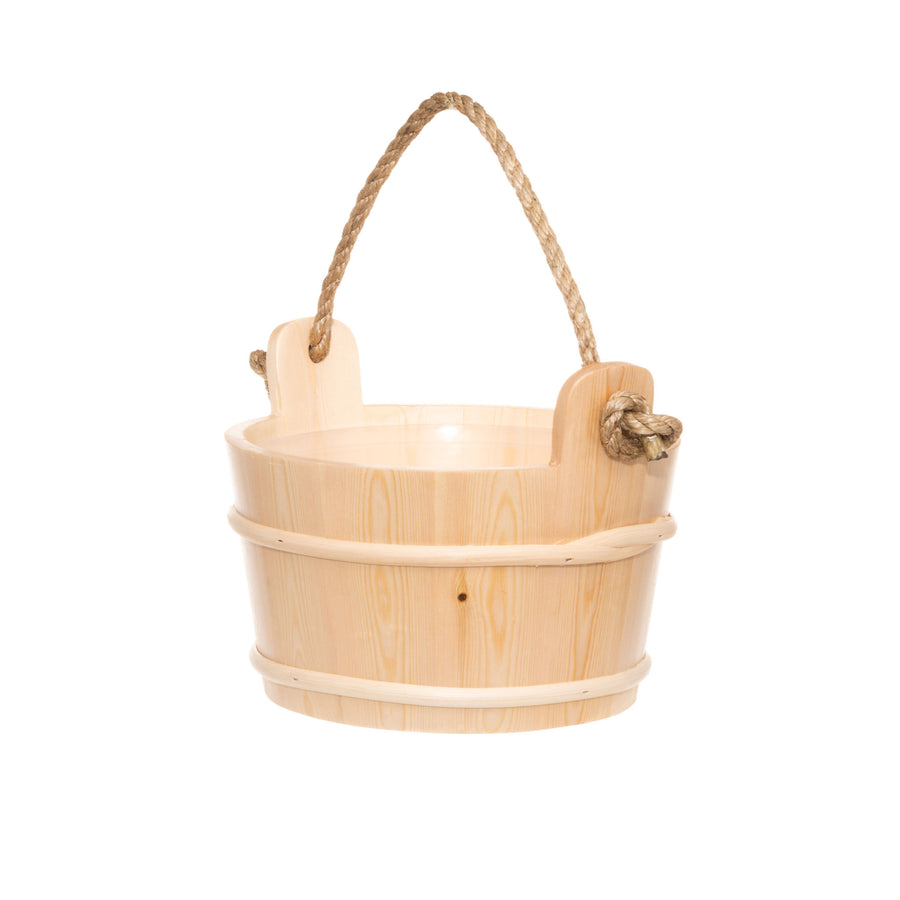 4 Living Sauna Bucket Spruce With Rope Handle 4 Litre  Sauna Bucket/Pail Finnmark Sauna