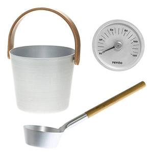 Natural Anodised Aluminium Sauna Set - Sauna Ladle, Pail & Thermometer  Sauna Accessories Set Finnmark Sauna