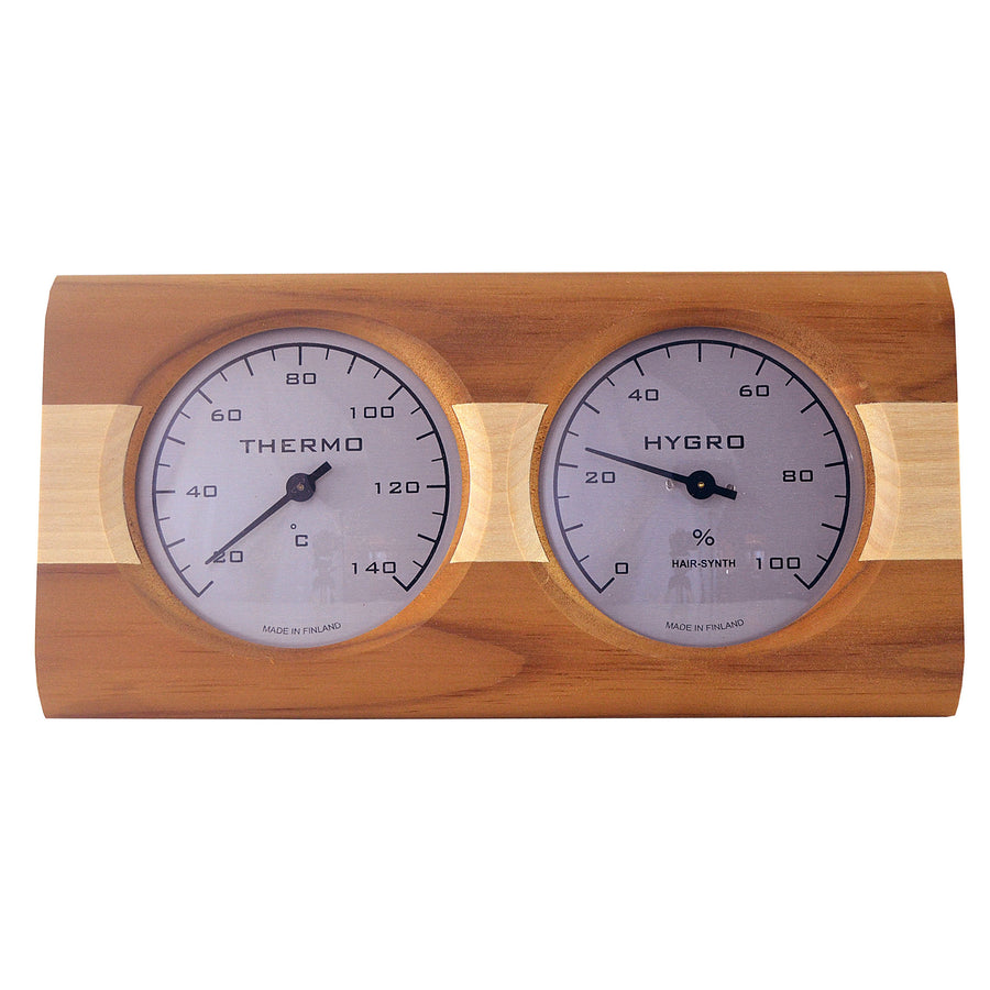 Sauna Thermometer Hygrometer Birch with Pine Stripe