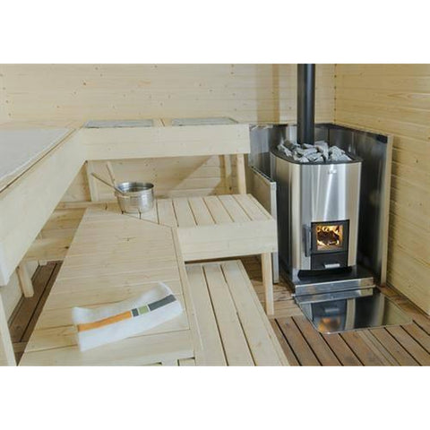 Narvi NC 20 Stainless Steel Wood Burning Sauna Heater Stove in situ
