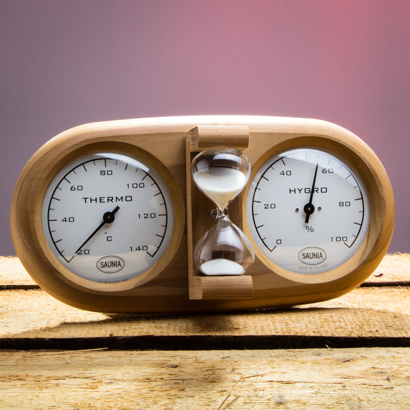 Sauna Thermometer, Hygrometer and Sand Timer Hourglass  Sauna Thermometer/Hygrometer Finnmark Sauna
