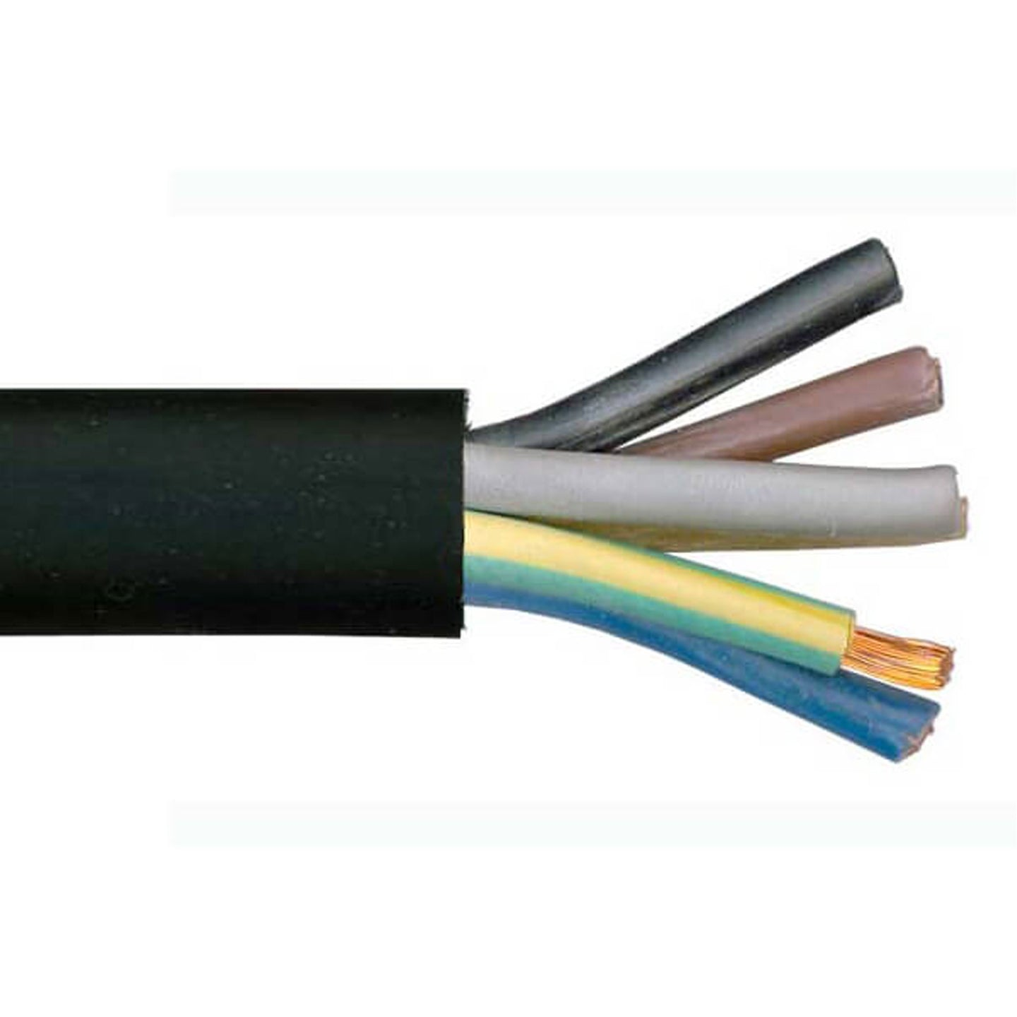 H07RN-F 7 Core Rubber Cable - Black Cut to Size Per Metre 7 Core 2.5mm2 Cable Finnmark Sauna