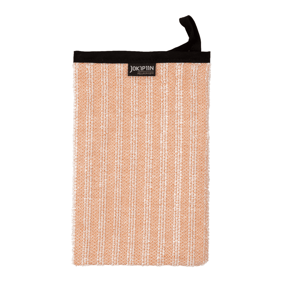Wash Mitten NAAVA collection by Jokipiin Pellava Orange Wash Mitten Finnmark Sauna
