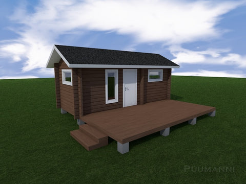 Outdoor/Garden Sauna Cabin 16ST Paakana with stained wood and painted door and window frame by Puumanni with a decking