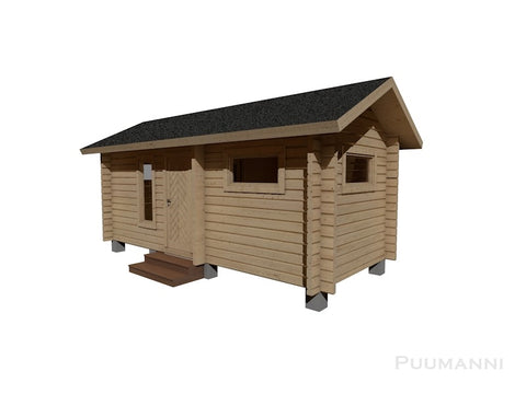 Outdoor/Garden Sauna Cabin 16ST Paakana in natural traditional wood colour