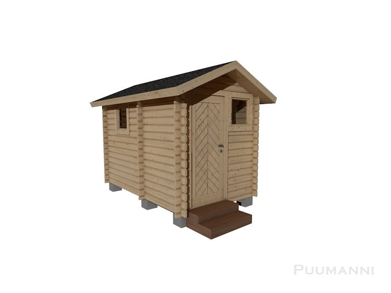 Outdoor/Garden Sauna Cabin 6 Kaitanen Gluelam Log - 88mm x 170mm / Wood Burning Sauna Heater Narvi Black including Flue Kit and Heat Shielding Kit Bundle + £2303 / Upgrade to Thermo-Aspen Sauna Benching +£432.00 Outdoor/Garden Sauna Cabin Finnmark Sauna