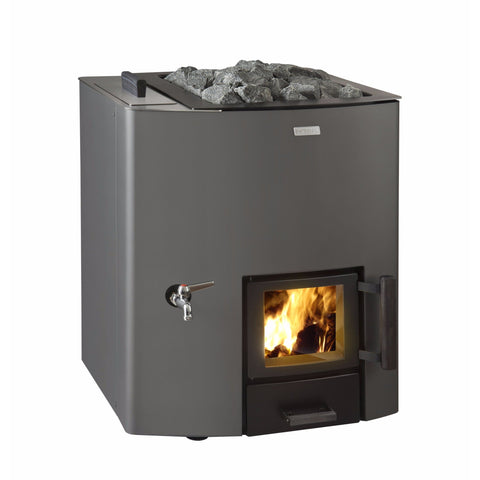 Narvi NC 20 with Water Tank Left Hand Side, Painted Graphite Grey, Wood Burning Sauna Heater Stove