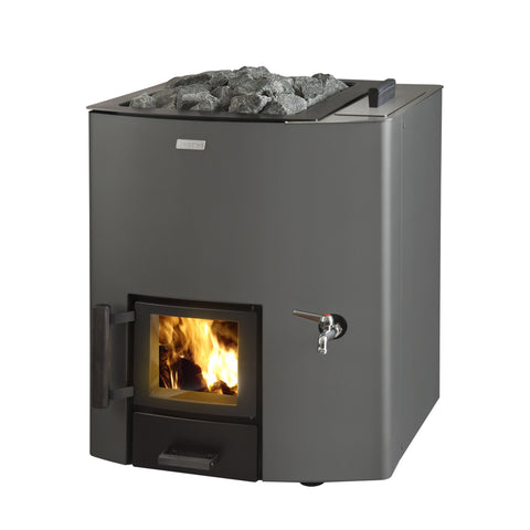 Narvi NC 20 with Water Tank Right Hand Side, Painted Graphite Grey, Wood Burning Sauna Heater Stove