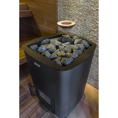 Narvi NC 20 painted Graphite Grey Wood Burning Sauna Heater Stove in a Sauna