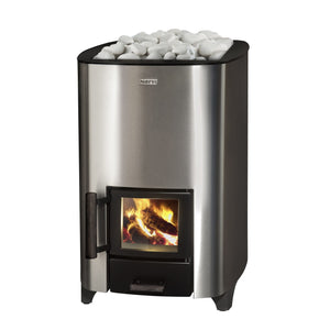 Narvi NC 16 Stainless Steel Wood Burning Sauna Heater Stove with White Kota Surface Stones