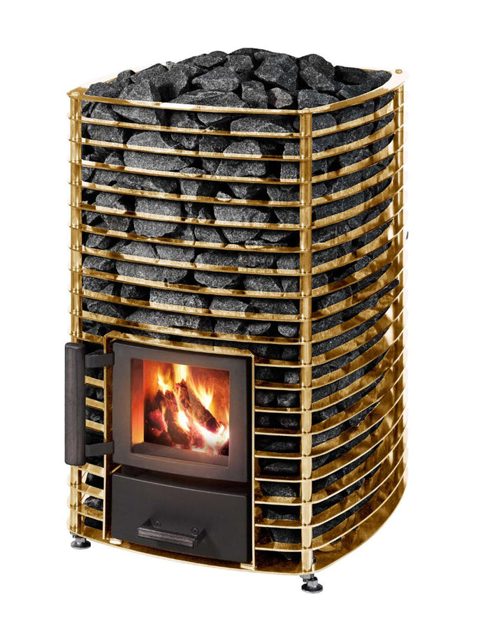 Narvi Velvet Wood Burning Sauna Heater 24ct Gold Plated / 8x 20kg Boxes of Grade A Finnish Olivine Diabase Sauna Stones Wood Burning Sauna Heater Finnmark Sauna