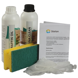 Twin Pack Sauna Clean & Paraffin Oil 0.5L bottles with gloves and applicator sponge by Stelon Oy