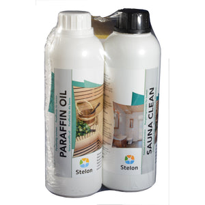 Twin Pack Sauna Clean & Paraffin Oil 0.5L bottles by Stelon Oy