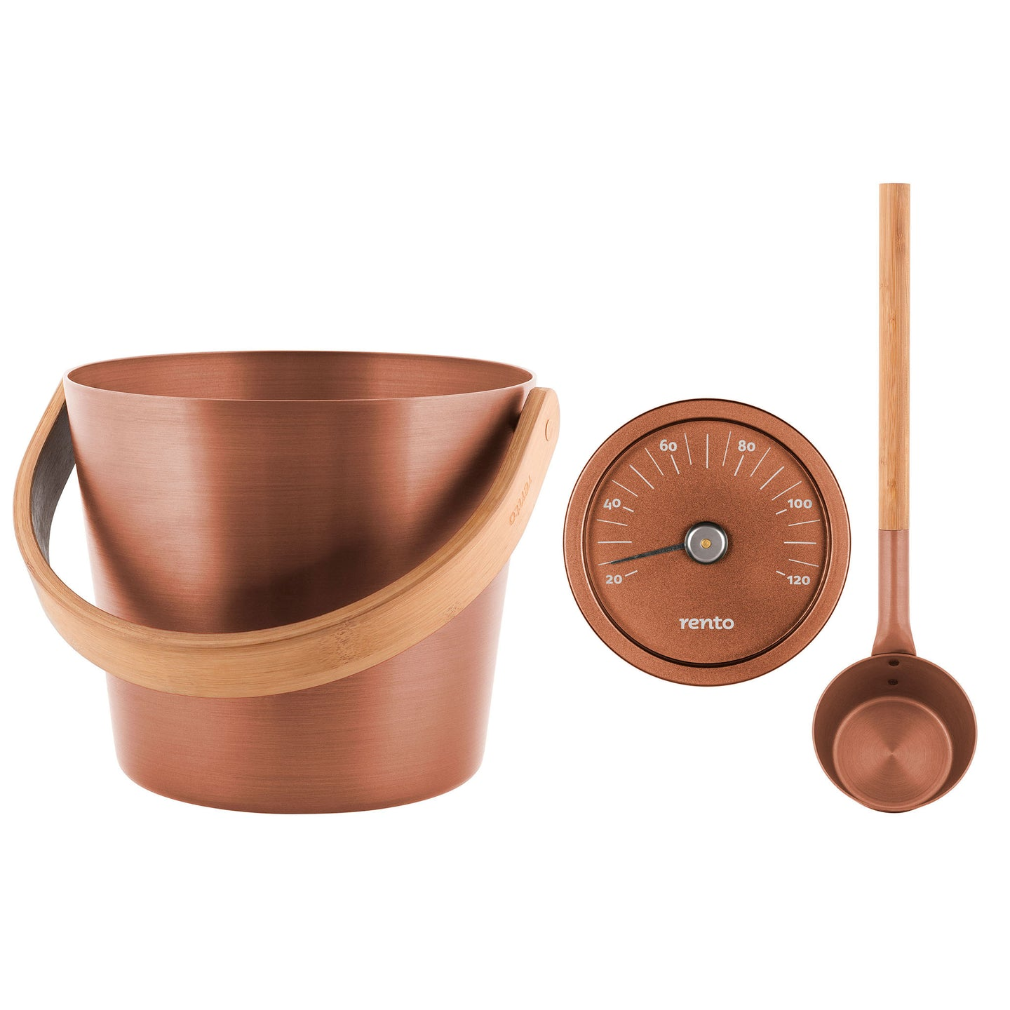 Rento Copper Anodised Aluminium Sauna Set - Sauna Ladle, Pail & Thermometer Default Title Sauna Accessories Set Finnmark Sauna