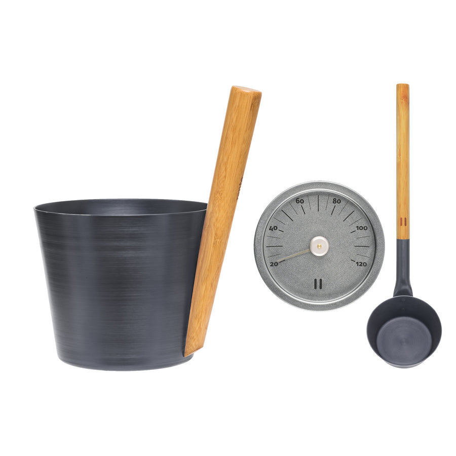 Rento Thunder Blue Anodised Aluminium Sauna Set - Sauna Ladle, Bucket & Thermometer Default Title Sauna Accessories Set Finnmark Sauna