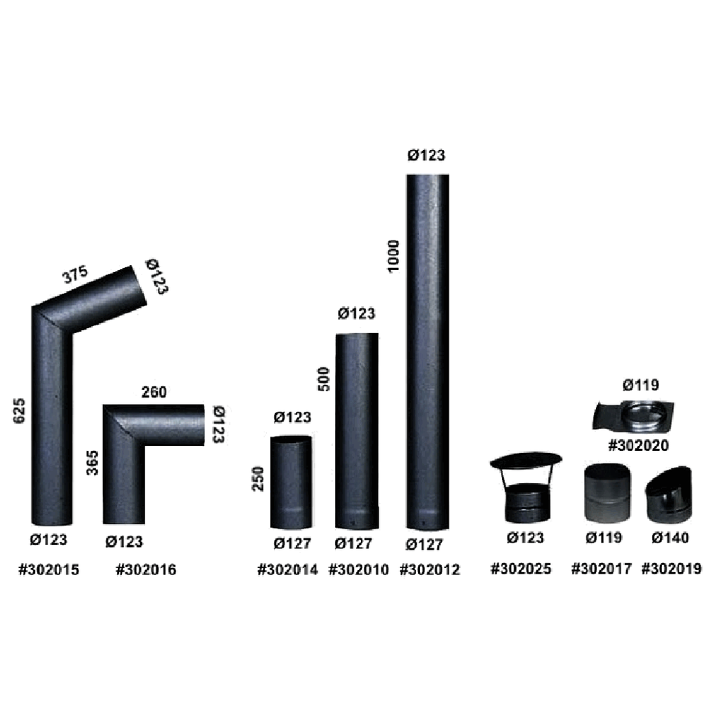 Kota Flue Parts, Adapters & Flanges with product numbers